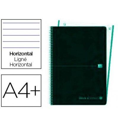 SPIRAL NOTEBOOK OXFORD EBOOK 4 PLASTIC CAP DIN A4 + 120 H HORIZONTAL BLACK'N COLORS ICE MINT 5 Pcs