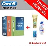 Pacchetto 2 Cepillos Eléctricos con Tecnología Braun Oral-B Pro 600 Crossaction Scatola Naranja/Verde + Dentífrico Orale -B Esperto 15 Ml