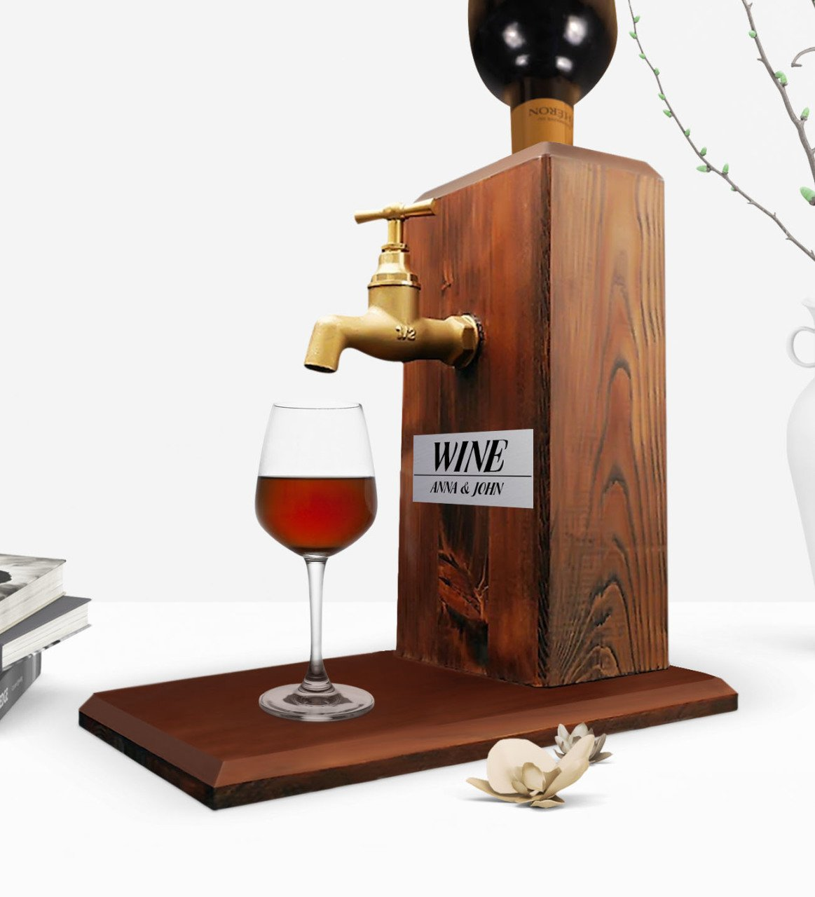 Custom Wooden Natural Wine Stand with Tap - Walnut