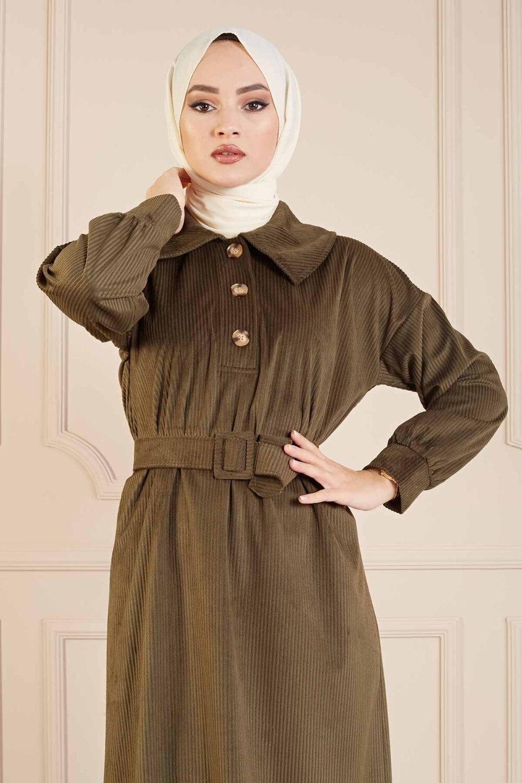 kadife-fitilli-elbise-100md10110-haki-302289-51-B