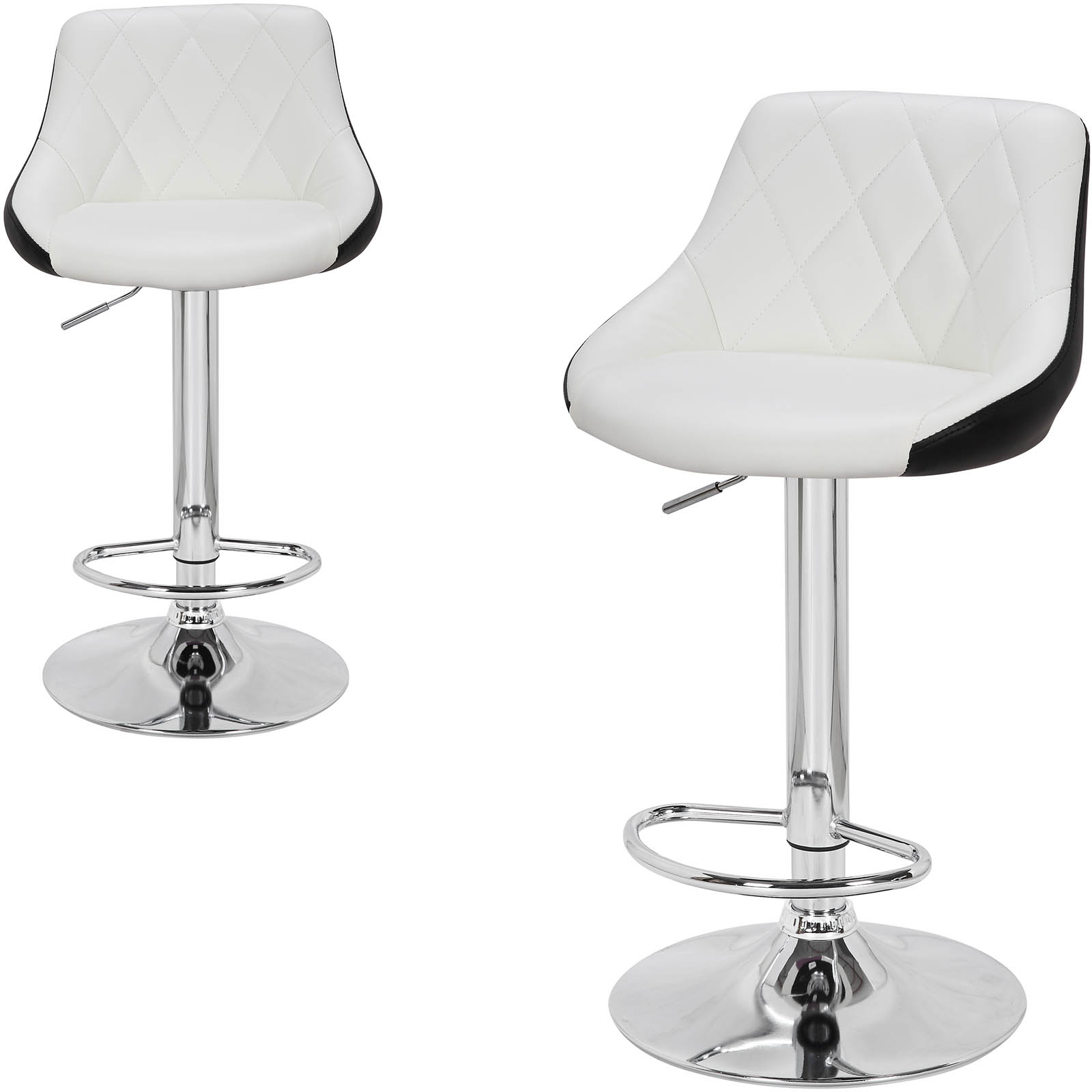 1PC Bar Stool with Handle Height Adjustable Rotatable Seat Faux Leather Chrome-Plated Steel Frame Kitchen Chair Bar Furniture