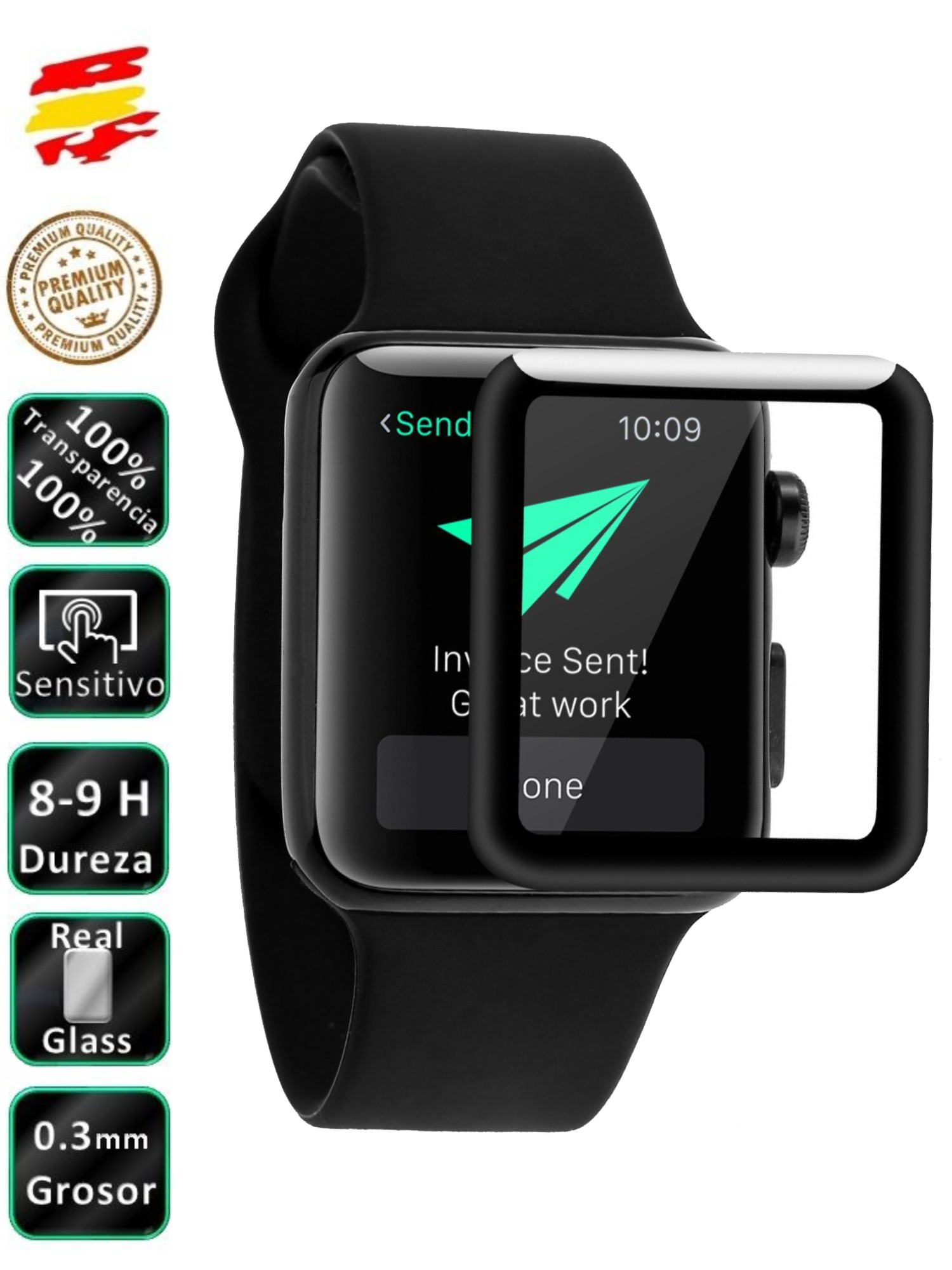 Protective Apple Watch Serials 3 42 Mm Black 3D Full Screen Tempered