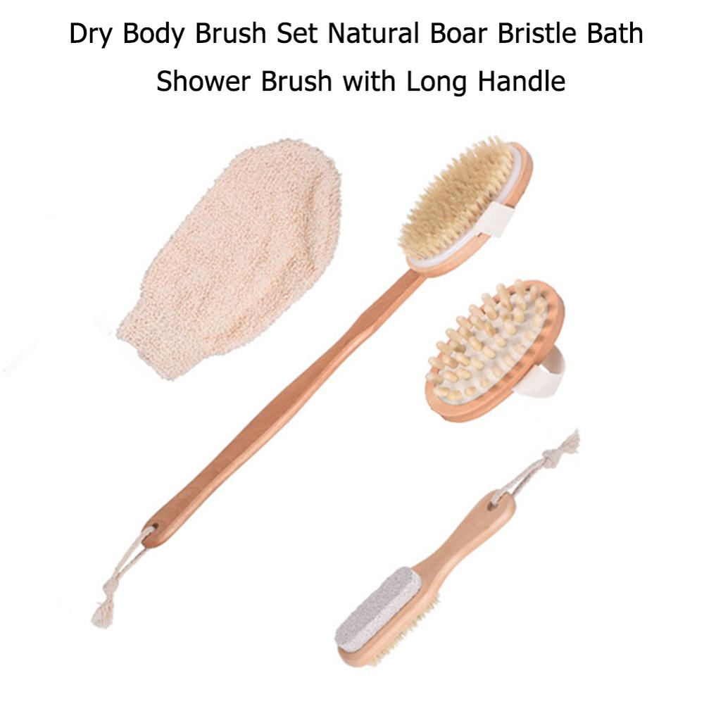 4pcs Dry Body Brushing Set Soft Natural Bristle Scrubber Body Exfoliating Dead Skin Remove Massage Shower Bath Brush