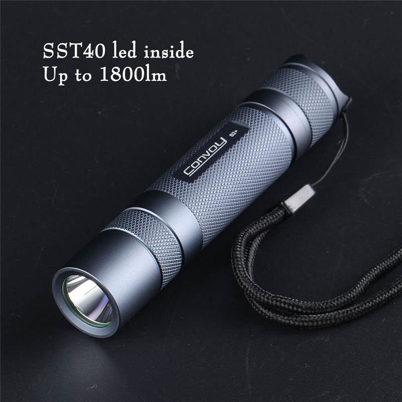 Gray Convoy S2+ SST40 1800lm 5000K 6500K Temperature Protection Management 18650 Flashlight for Camping Hunting LED Torch