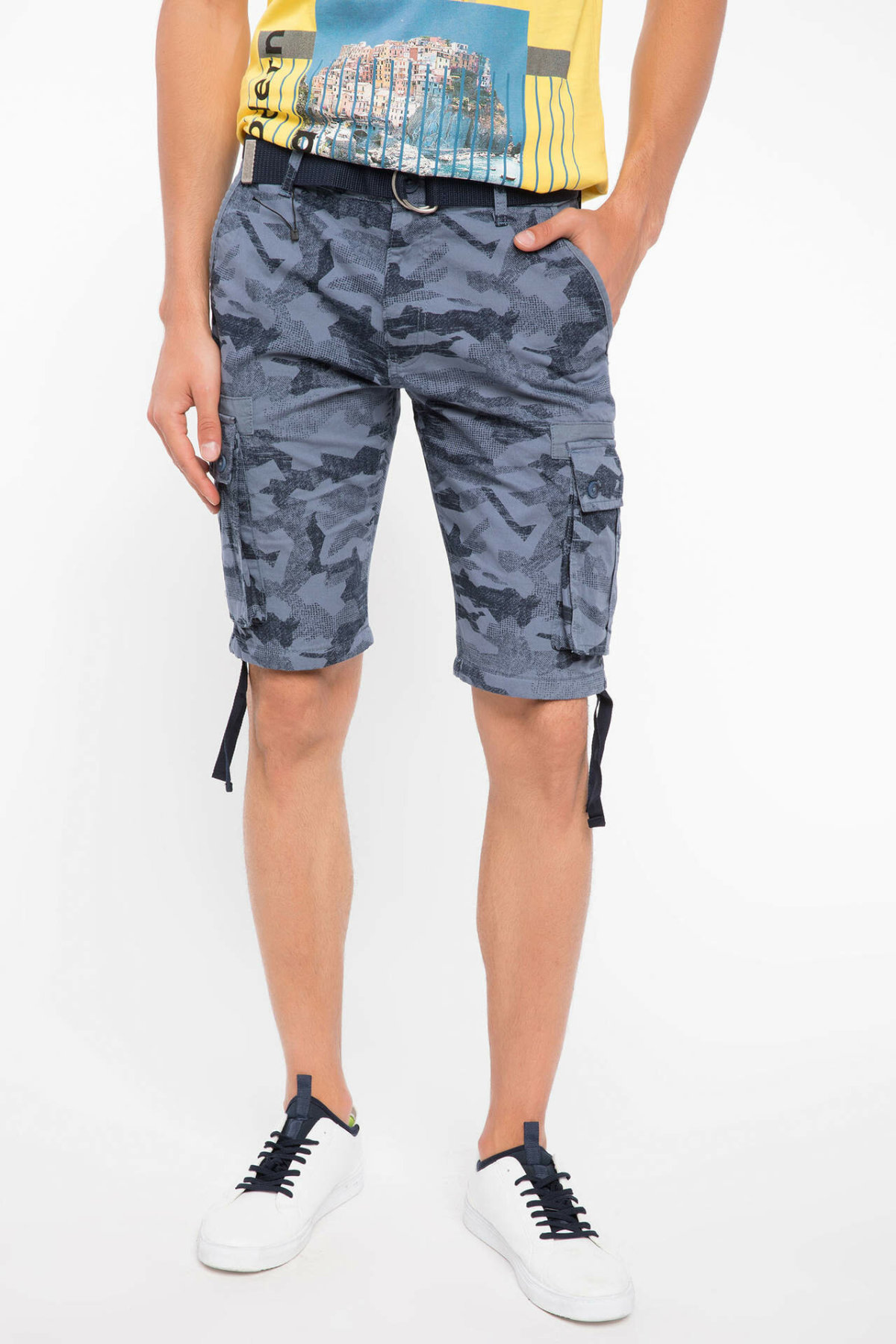 DeFacto Man Summer Blue Color Short Bottoms Men Lace-up Casual Shorts Men Blue Camouflage Bermuda Shorts-J0011AZ18SM
