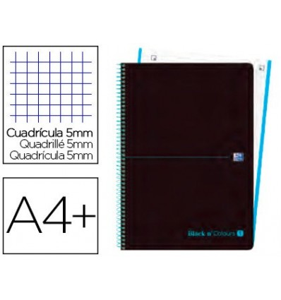 SPIRAL NOTEBOOK OXFORD EBOOK 1 PLASTIC CAP DIN A4 + 80 H GRID 5 MM BLACK'N COLORS TURQUOISE 5 PCs