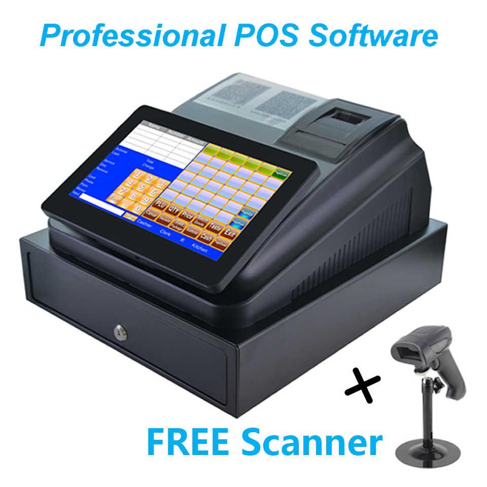 10 дюймов сенсорный экран кассовый аппарат с принтером кассовый ящик и профессиональное программное обеспечение