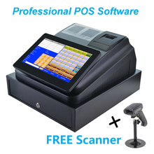 10inch Touch Screen Cash Register With Printer Cash Drawer and Professional Software cheap GZWEIOU Wired Dot-matrix Manual Black And White 20ppm Ticket printers 203dpi 8 5kg Receipt Printer 2014 100-240V Thermal Paper