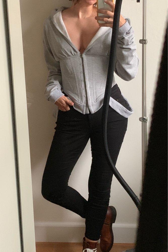 Spring Sweatshirts For Women'S Hoodies Long Sleeve V Neck High Waist Slim Sweatshirt Tops Female Fashion photo review
