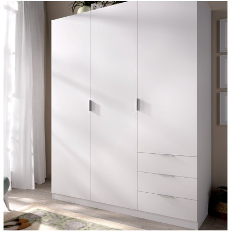 Wardrobe 3 Doors 3 Drawers Folding 121 Cm Wide