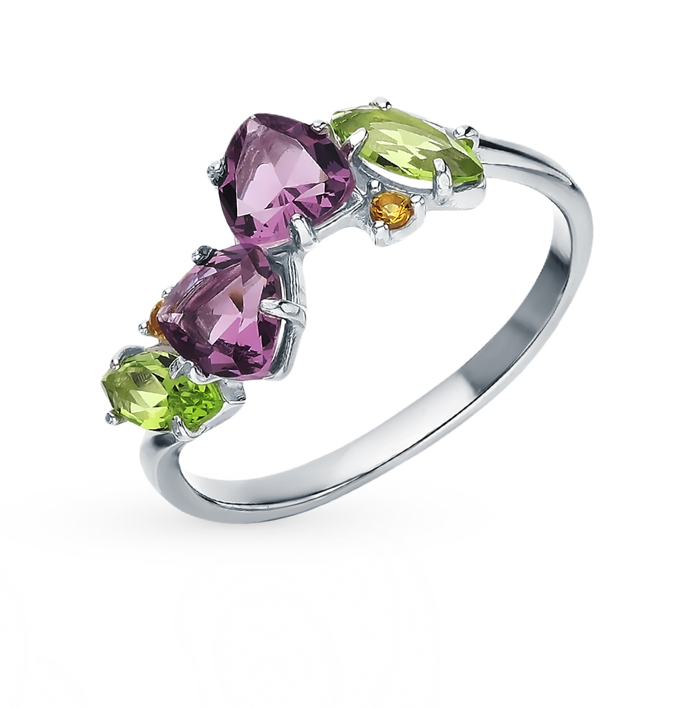Silver Ring With хризолитом, Amethyst And Cubic Zirconia Sunlight Sample 925