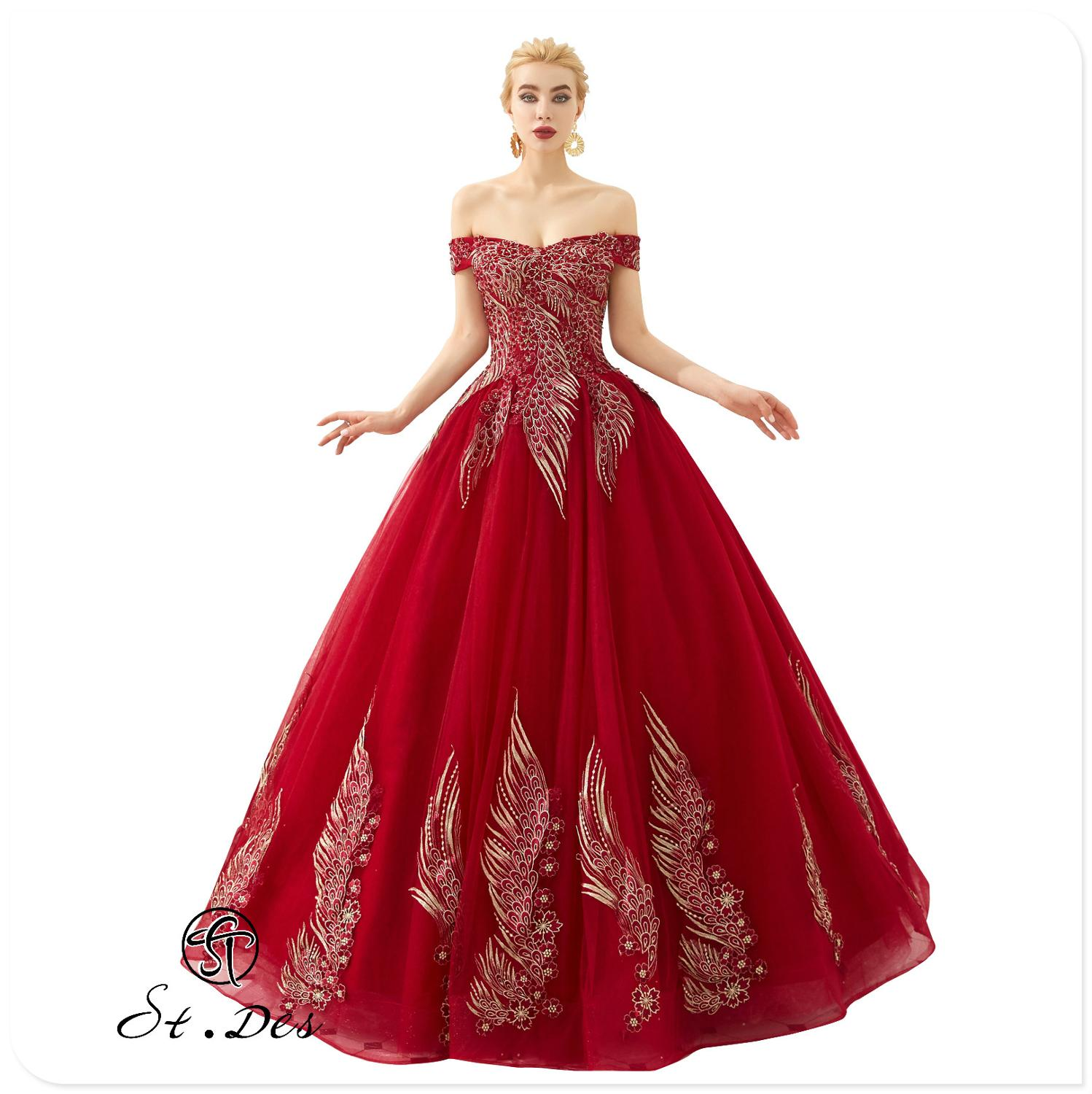 NEW 2020 St.Des A-line Strapless Russian Red Phoenix Sequins Beading Sleeveless Designer Floor Length Evening Dress Party Dress