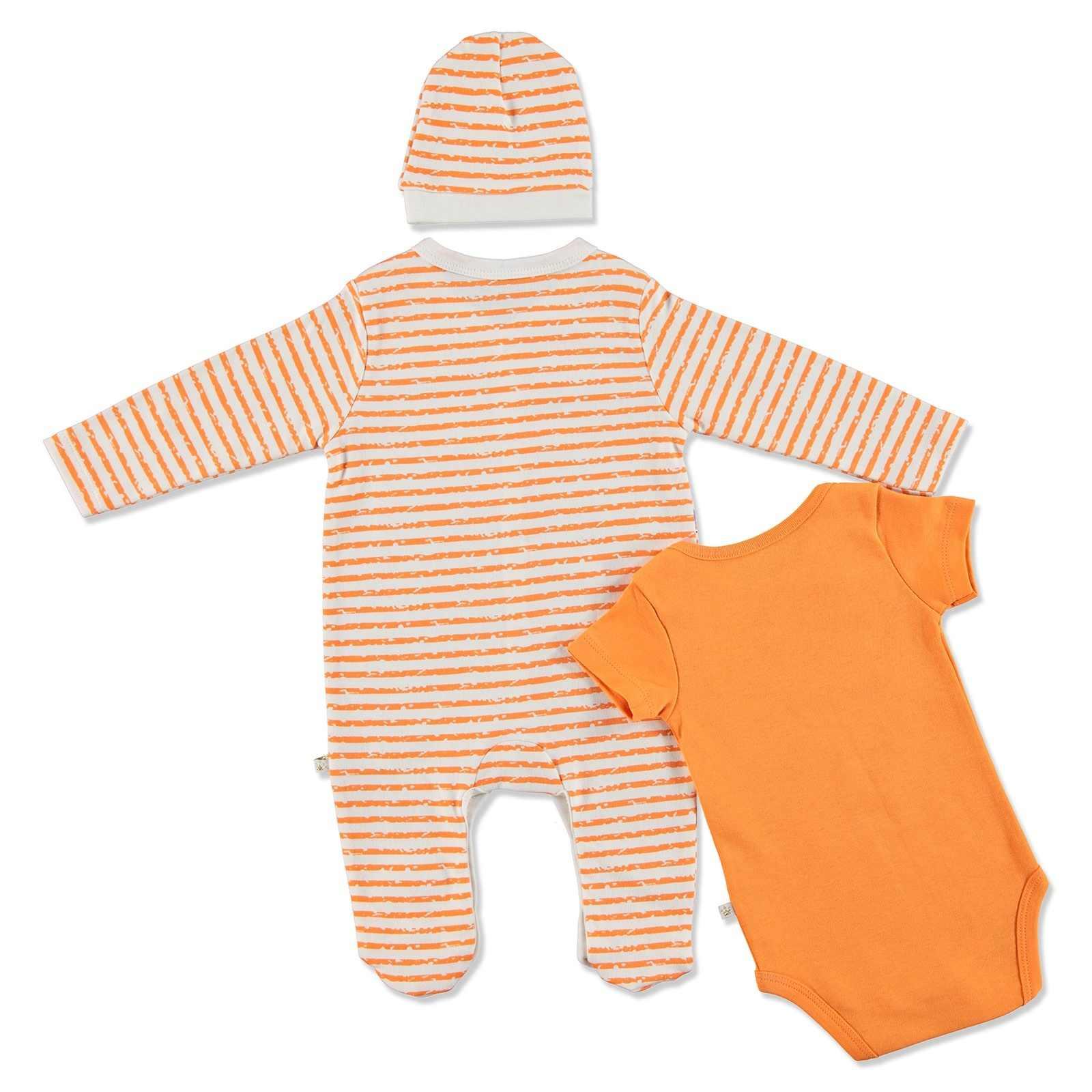 ebebek For My Baby Summer Boy Dino Romper Bodysuit Hat 3 pcs Set