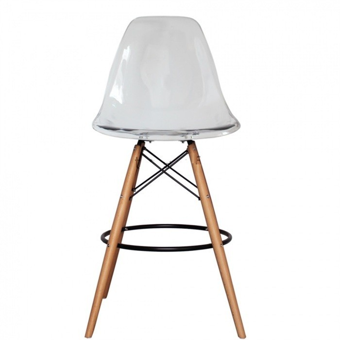 Stool TOWER, Wood, Clear Polycarbonate