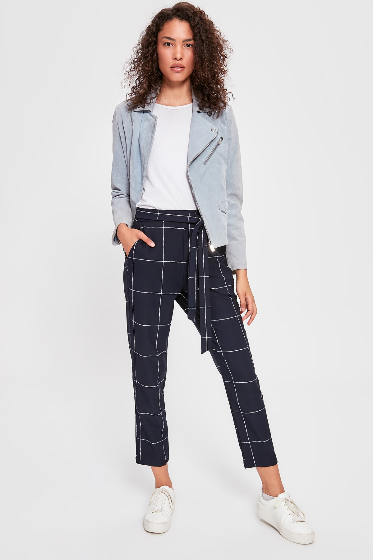 Trendyol Dark Blue Lacing Detailed Plaid Pants TWOAW20PL0267