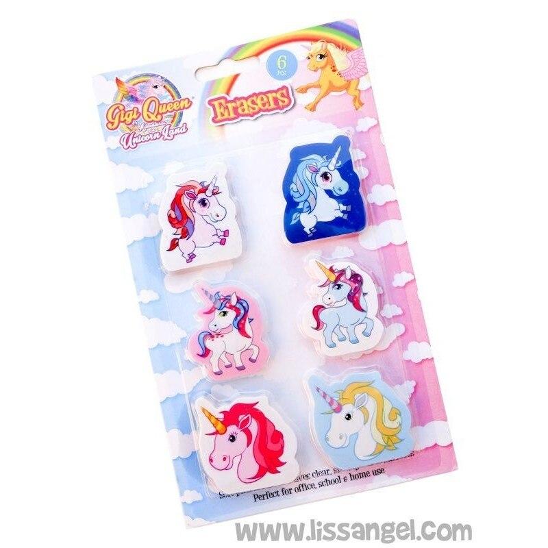 Pack 6 Unicorn Erasers