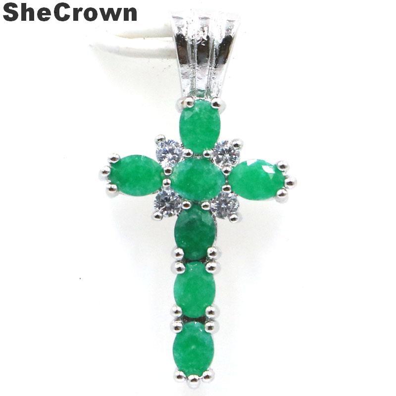 27x14mm SheCrown Cross Real Green Emerald Rhodolite Garnet Paris Blue Topaz Gift Silver Pendant