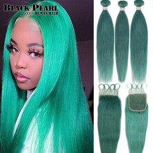 Schwarz Perle Bundles Mit Schließung Gerade Jade Grün Blonde Menschliches Haar Bundles Mit Verschluss 3 Remy Brasilianische Haarwebart Bundles