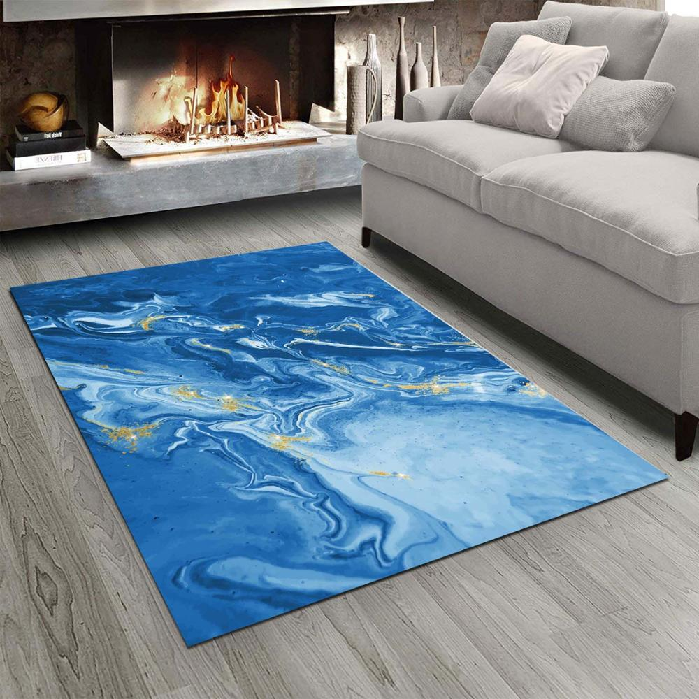 Else Blue Abstract Marble Stones  3d Print Non Slip Microfiber Living Room Modern Carpet Washable Area Rug Mat
