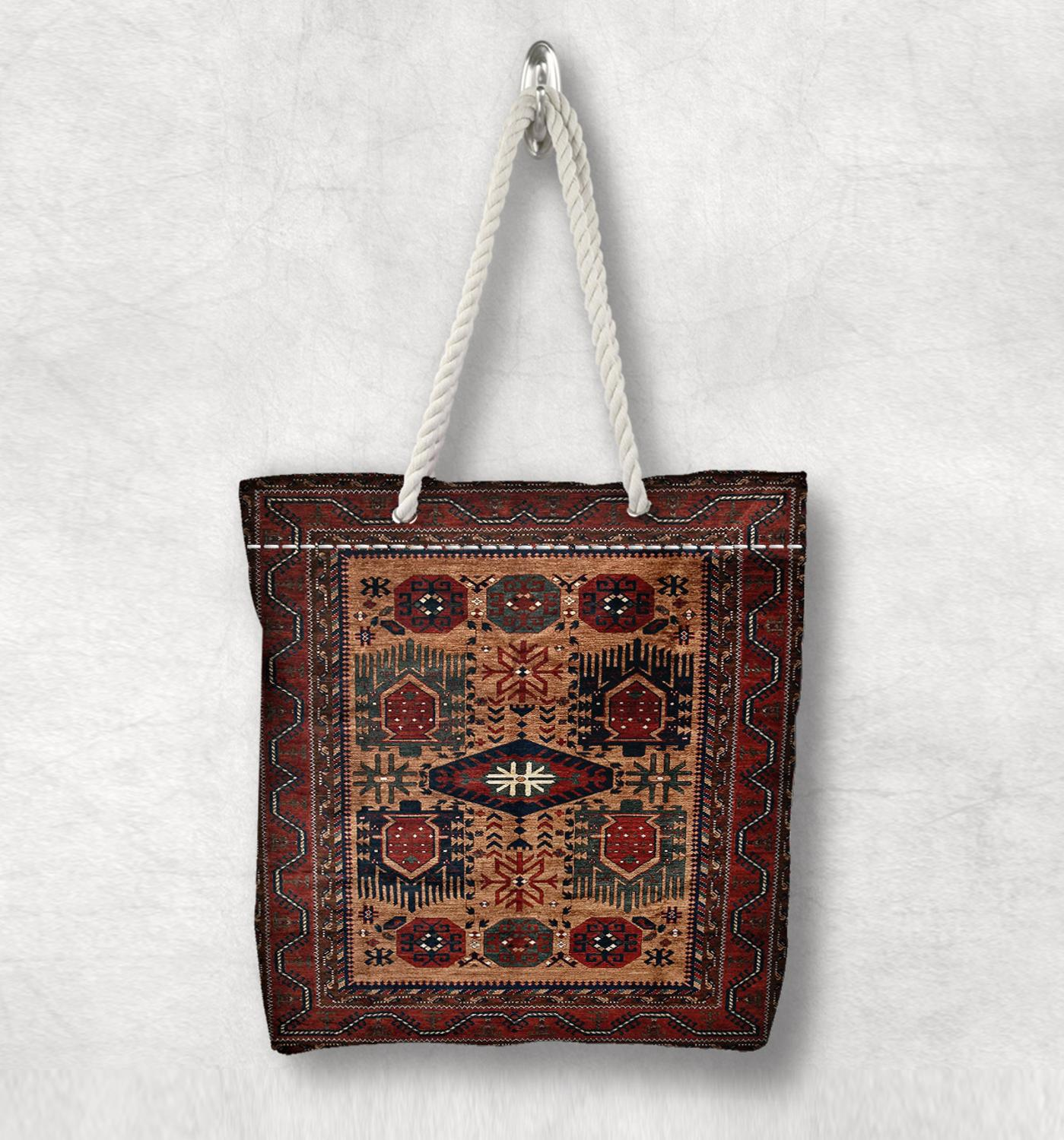 Else Brown Vintage Anatolia Antique Kilim Design White Rope Handle Canvas Bag Cotton Canvas Zippered Tote Bag Shoulder Bag