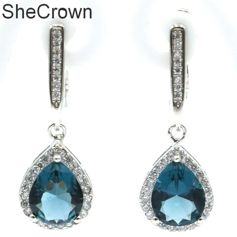 Hot Sell Big Drop Shape Gemstone Golden Citrine White CZ Gift For Girls Silver Earrings35x13mm