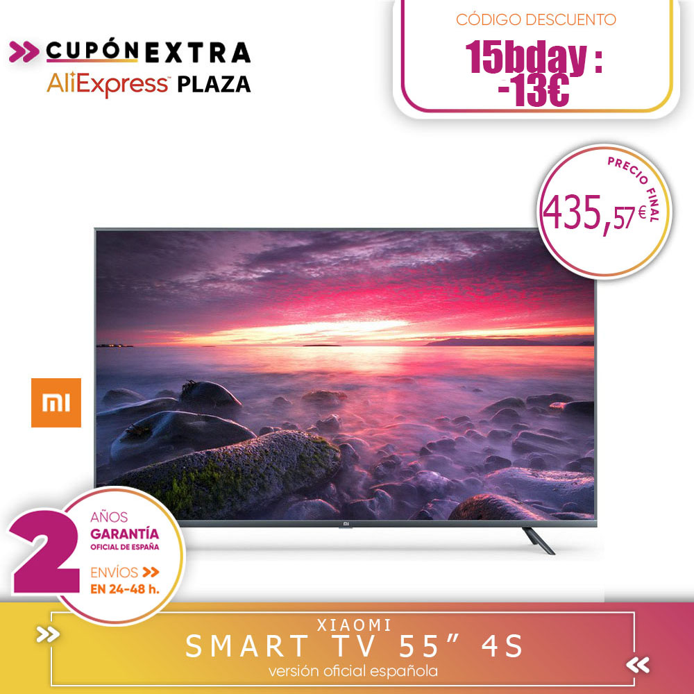 [Official Spanish Version Warranty] Xiaomi Mi TV Android Smart TV 4S 55 Inch 4K HDR TV Screen 2 Hard Gb + 8 Hard Gb Dolby DVB-T2