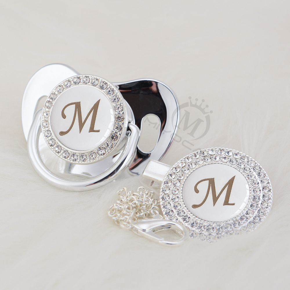 MIYOCAR Silver Name Bling Initial Letter M Beautiful Bling Pacifier And Pacifier Clip BPA Free Dummy Bling Babyshower Gift LM-1