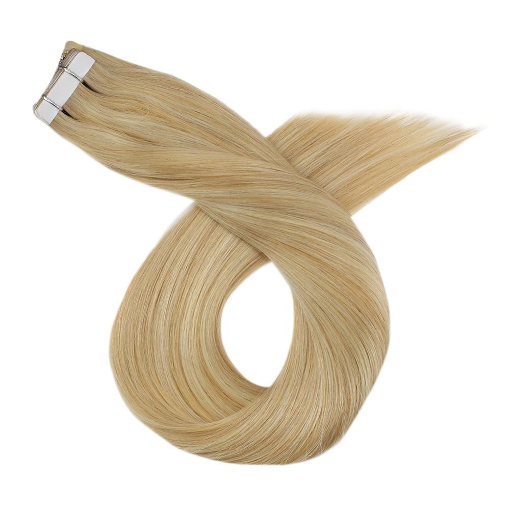 Invisible Tape In Human Hair Extensions Machine Remy Straight Blonde Highlight Color 12-24inch Glue On Extensions Real Hair