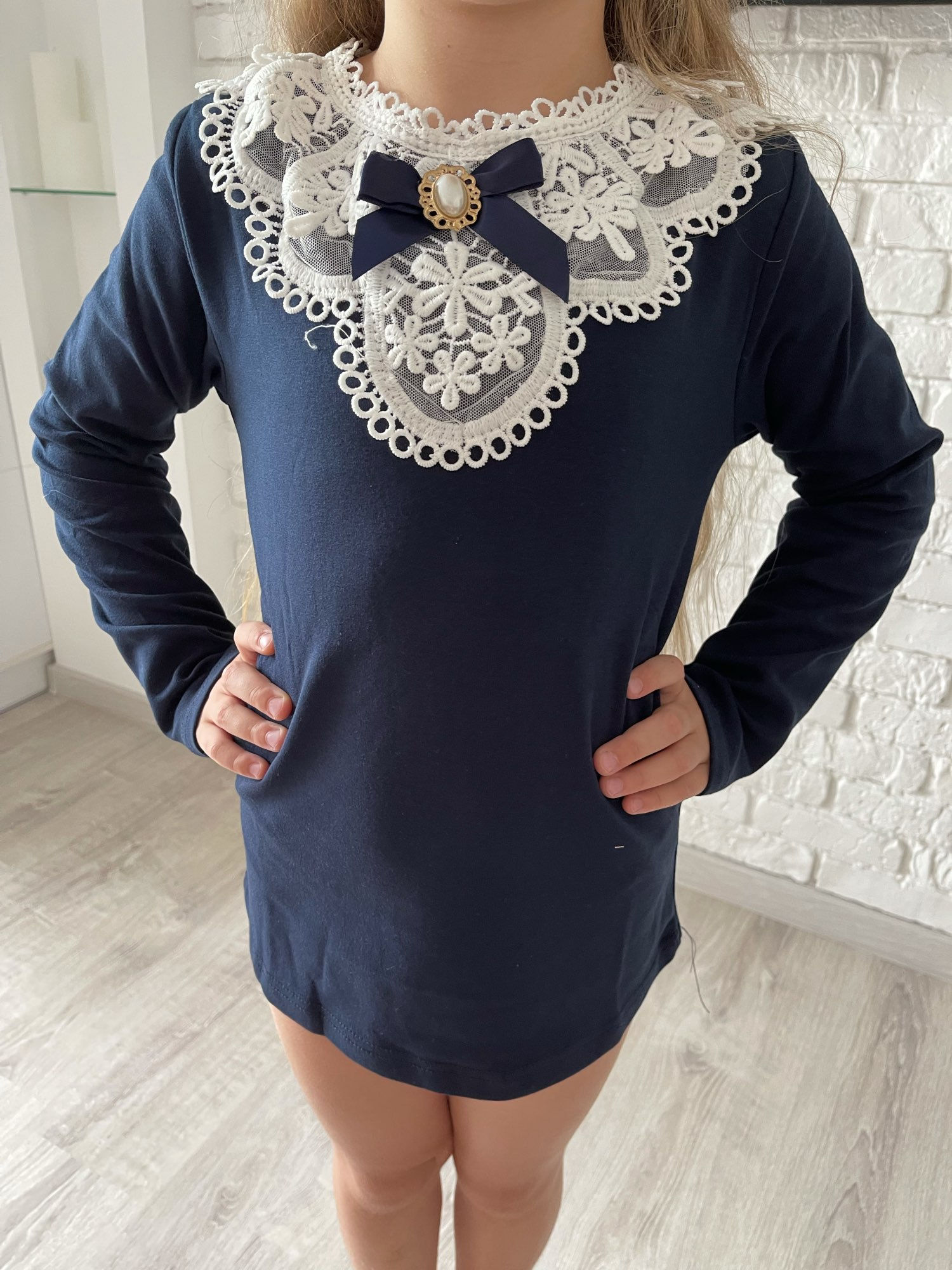 Spring Winter 2021 Girls Blouses Shirts Fashion Warm Solid Long Sleeve Lace Flower Blouses Children Girls Cotton Clothes photo review