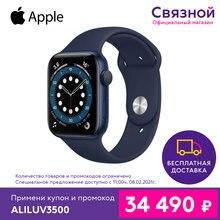Умные часы Apple Watch Series 6, 44 мм, корпус из алюминия цвета, спортивный ремешок [Доставка от 2 дней, Официальная гарантия]