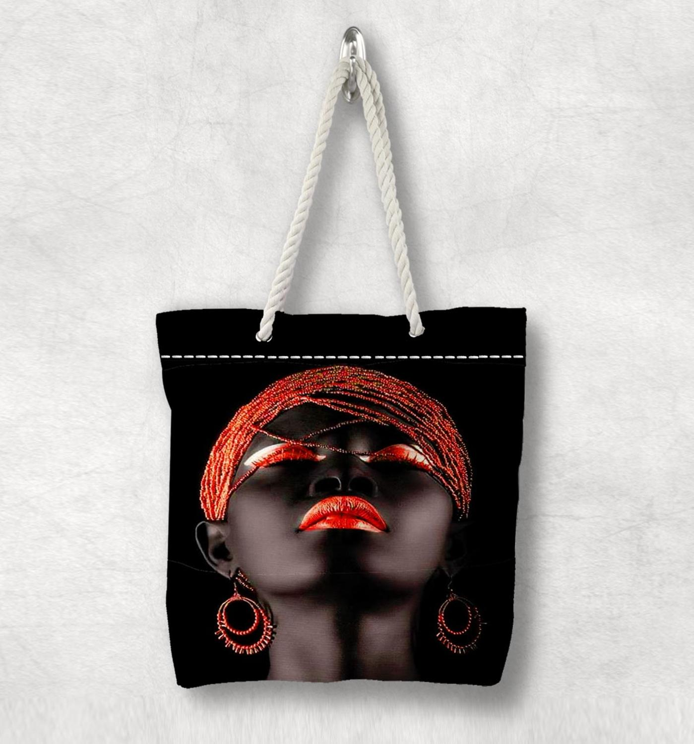 Else Black Girl Orange Hair Lips New Fashion White Rope Handle Canvas Bag Cotton Canvas Zippered Tote Bag Shoulder Bag
