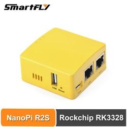 Smartfly FriendlyARM NanoPi R2S GSM sistema RK3328 Mini Router Gigabit Dual Puerto 1GB de memoria de gran tamaño