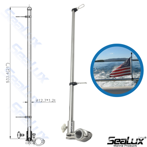 Image 2 - Sealux Marine Grade Stainless Steel 304 Flag Pole for ϕ22.2mm and ϕ25.4mm rail Boat Yacht Car RV Fishing Marine Accessories
