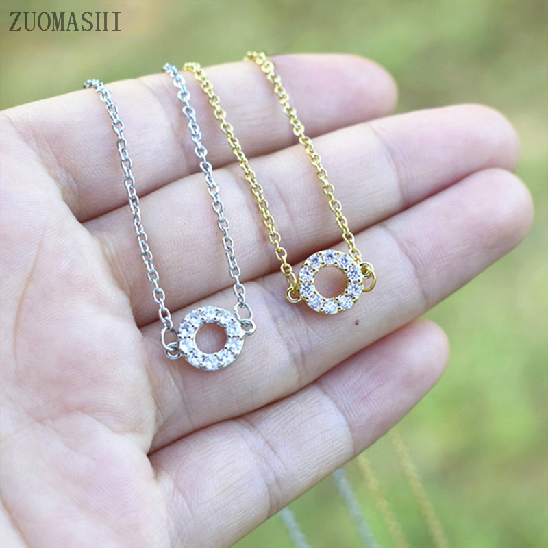 Small Zirconia Necklace Gifts for Her Minimalist Gold Jewelry Dainty Diamond Pendant Necklace