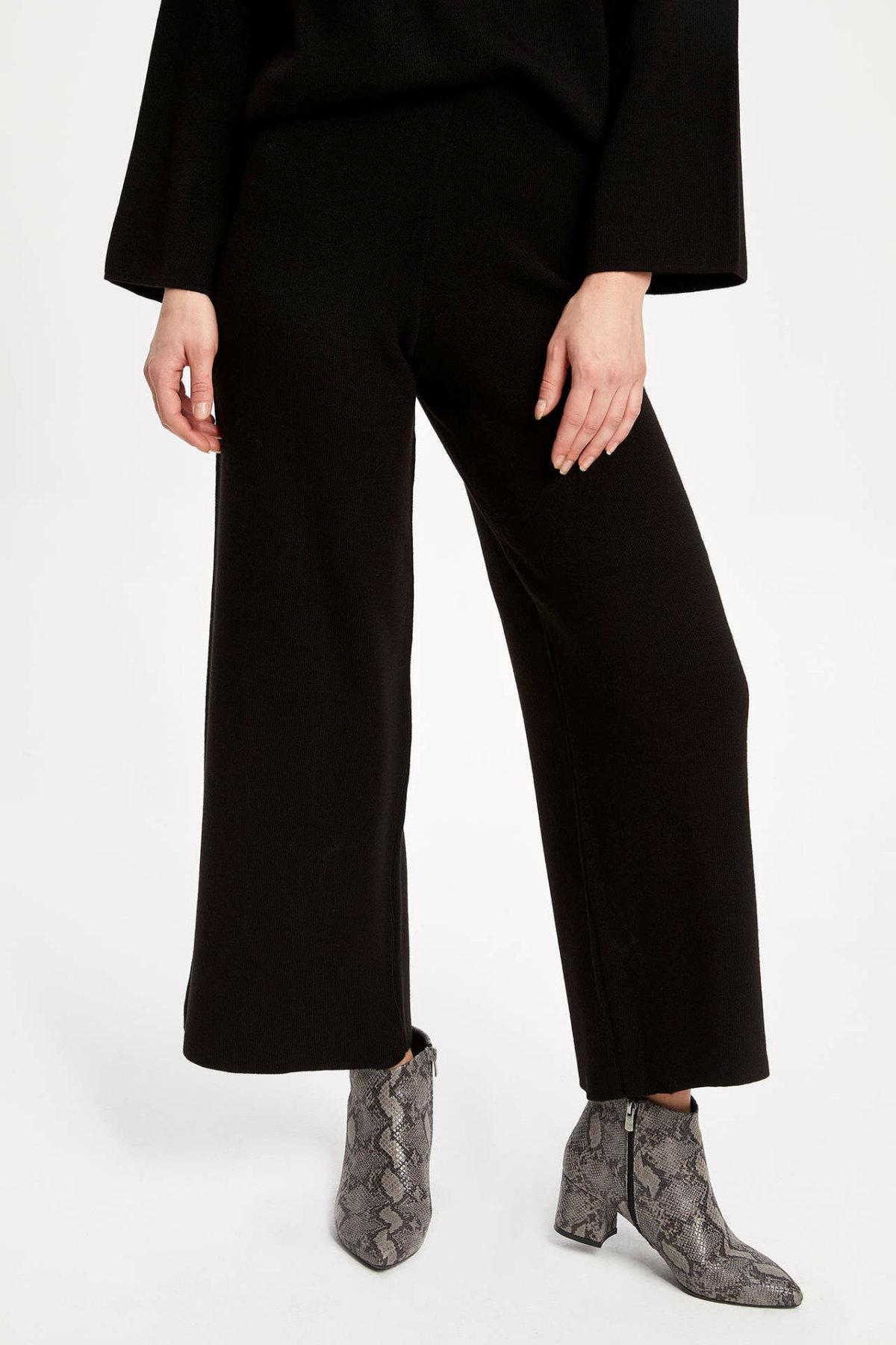 DeFacto Women's Fashion Formal Black Loose Trousers For Ladies Casual Pants Straight Cotton Long Pants Female - K9816AZ18WN