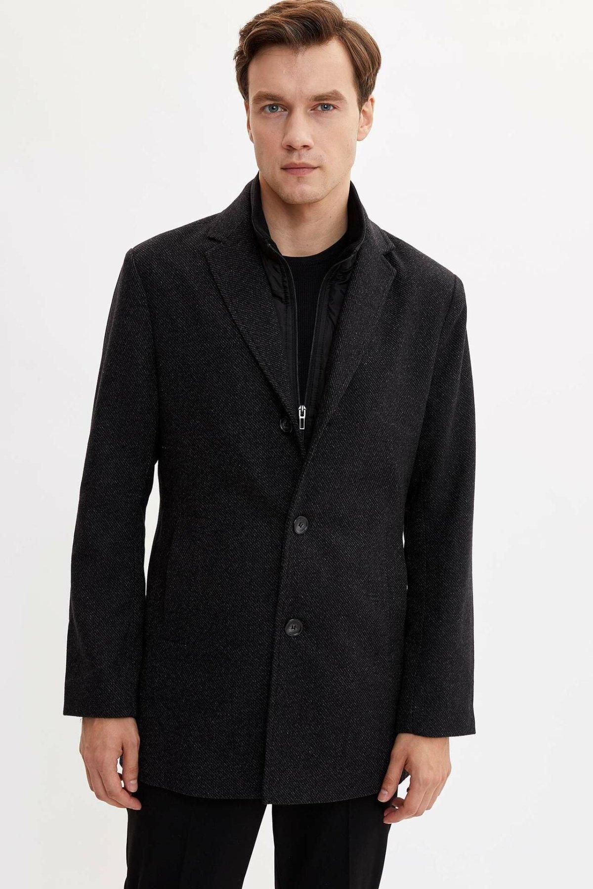 DeFacto Man Autumn Cool Black Parka Coats Men Smart Casual Top Cotton Coats/Male Thick Warm Parka-L2210AZ19AU