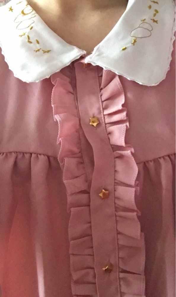 Kawaii, японское платье лолиты, женское летнее мягкое платье с вышивкой, кукольный воротник, свободное платье с короткими рукавами и оборками