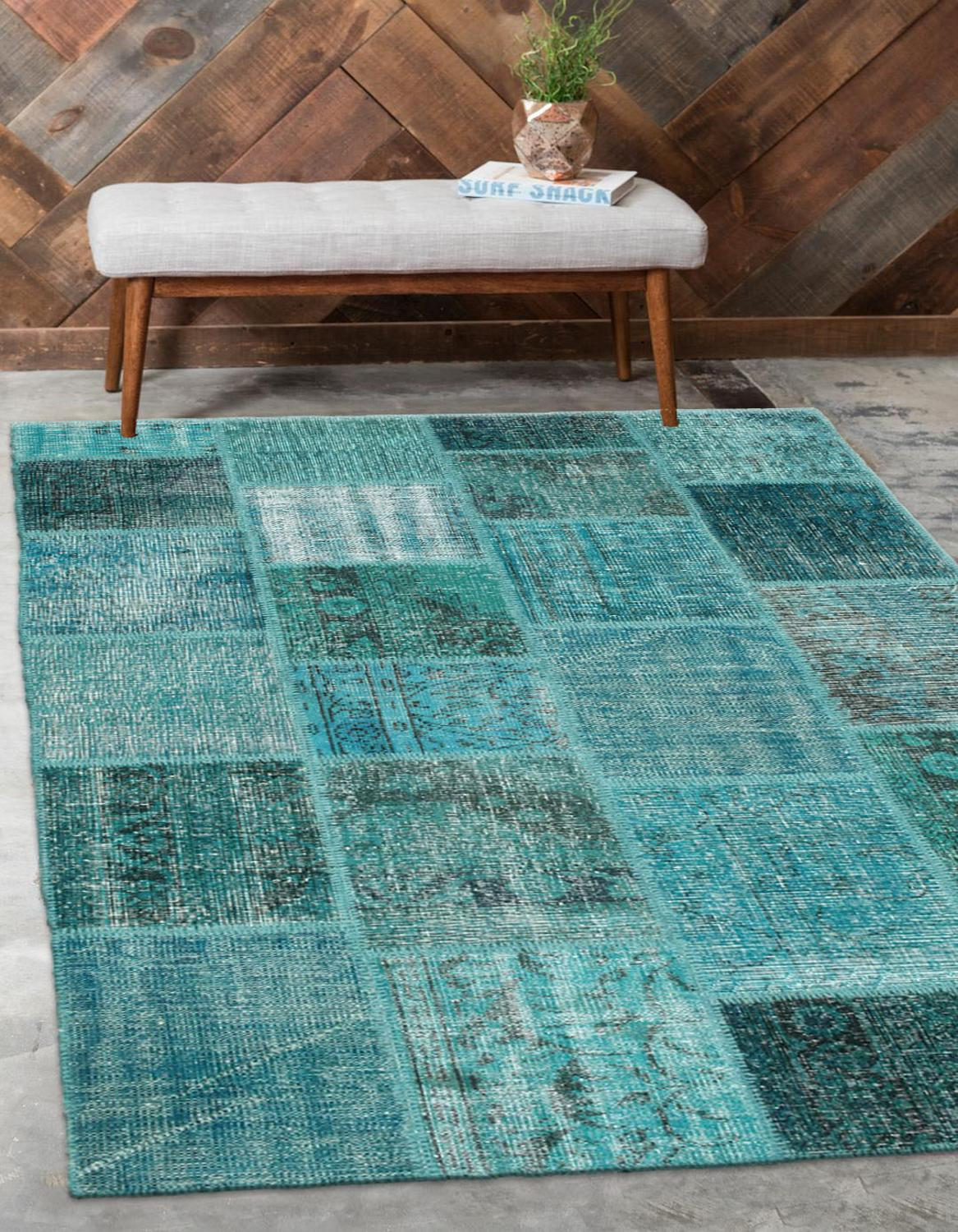 Else Turquoise Blue Anatolian Patchwork Rug Turkish Handmade Organic Area Rug Decorative Home Decor Wool Patchwork Rug Carpet