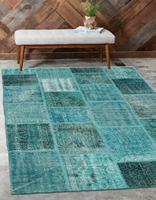 Else Turquoise Blue Anatolian Patchwork Rug Turkish Handmade Organic Area Rug Decorative Home Decor Wool Patchwork Rug Carpet|Carpet| |  -