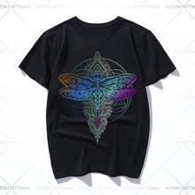 Красочная женская летняя футболка с изображением цветка лотоса