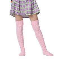 Festival Red Winter Warm Popular Fleece Wool Cable Knit Stockings Women Long Over knee Thigh High Medias chaussette haute femme