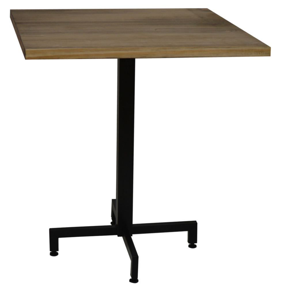 Pack Table ICub With Foot Black Central Board Square-60X60X75 Cm-Vintage Effect-Black