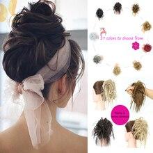 Messy Bun Ponytail Donut-Wrap Hair-Bun Scrunchy Chignon Synthetic-Hair-Extension Women