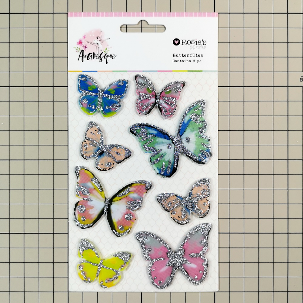 CRZCrafter Plastic Butterflies Sticker Glitter Self Adhesive Scrapbooking Cardmaking Journal Embellishments Decoration