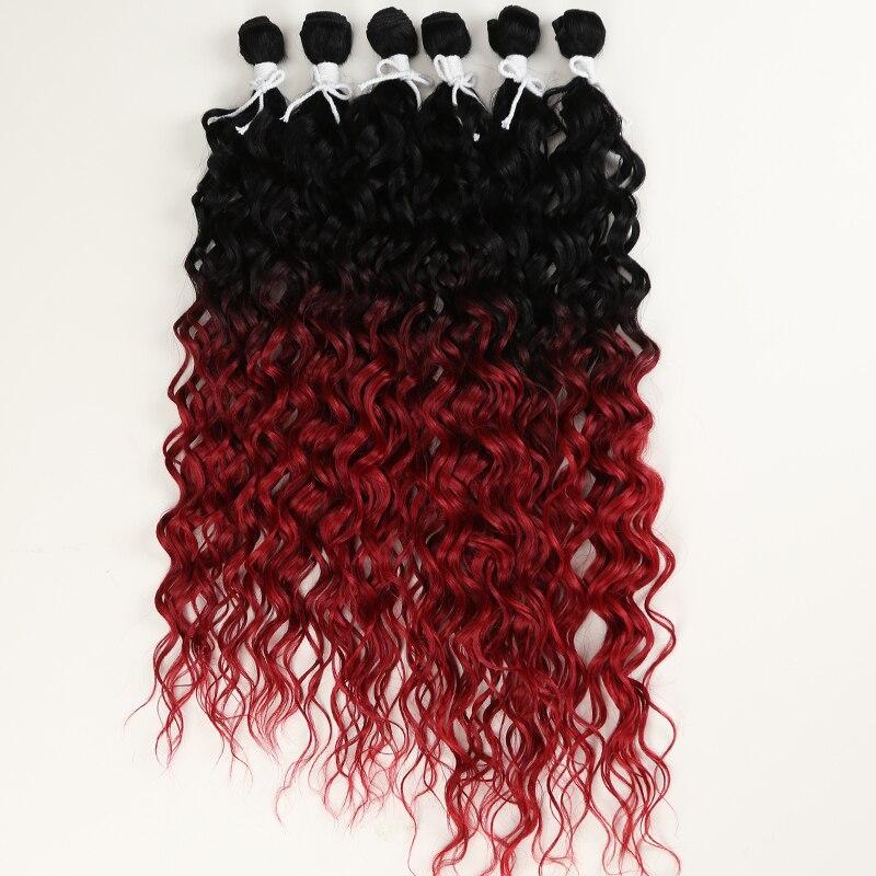 Extensão do Cabelo Resistente ao Calor para Preto Afro Kinky Curly Cabelo Pacote Sintético Ombre Vermelho Wine24-28 Polegada 6 Pçs Feminino Clássico Mais