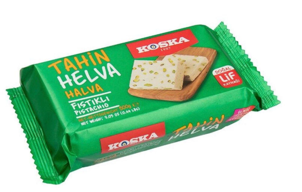 Tahini Halva, , Pistachio, Plain, Cocoa By KOSKA 0.5 Kg