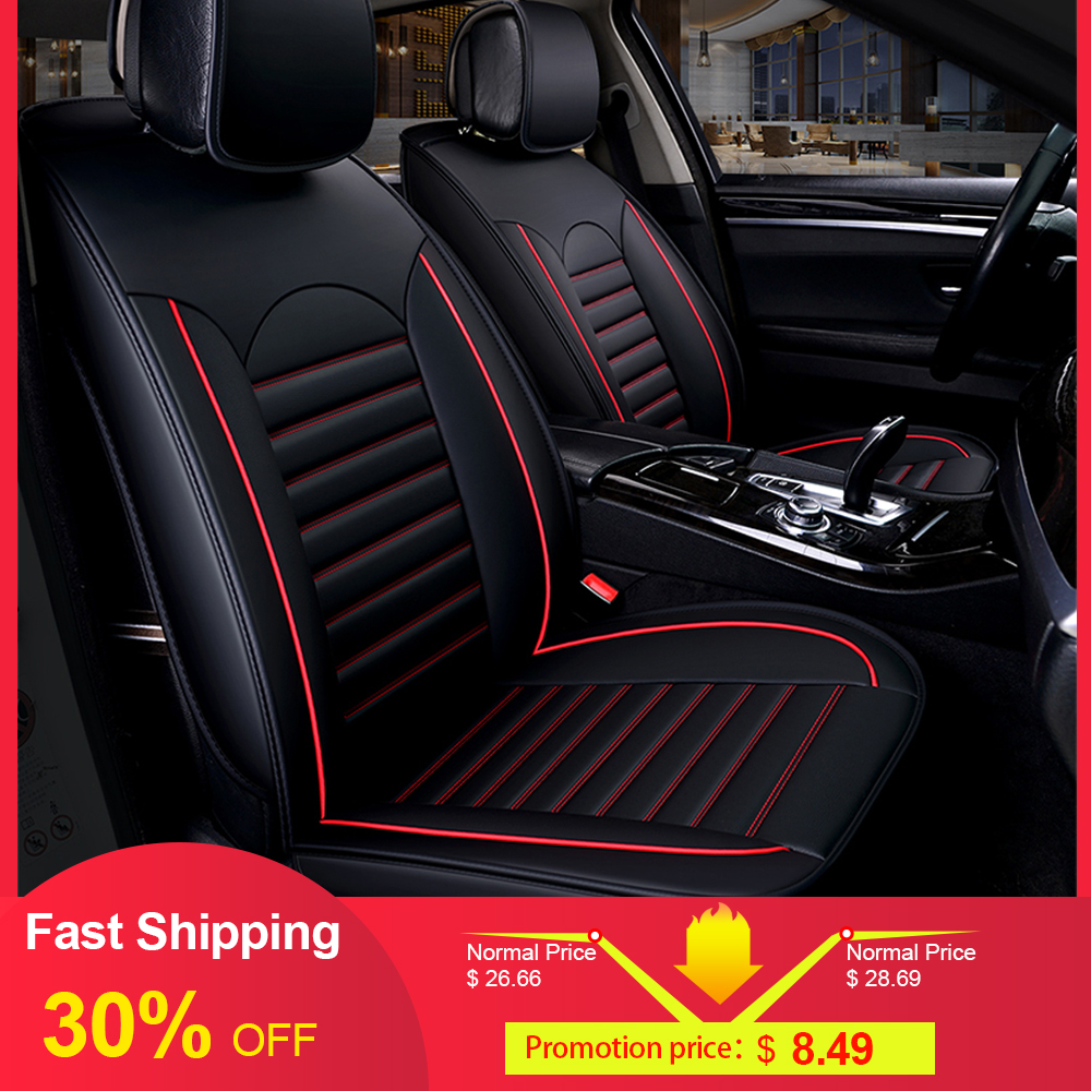 Universal 2 Front Car Seat Covers Leather Airbag Red Black For Kia Rio VW Polo