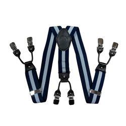 Подтяжки для брюк широкие (4 см, 6 клипс, Синий в полоску) 55125