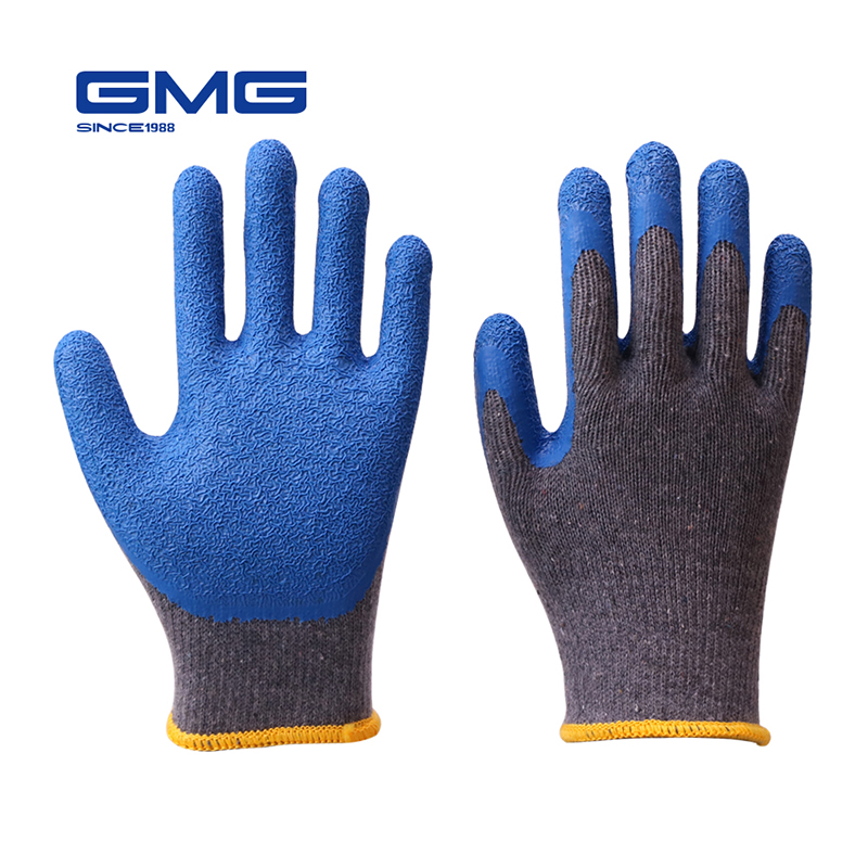 Working Gloves Men GMG Grey Shell Blue Latex Crinkle Coating Work Safety Gloves Cotton Gloves