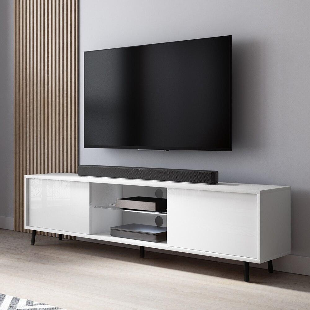 lefyr meuble tv banc tv blanc mat blanc brillant 140 cm eclairage led
